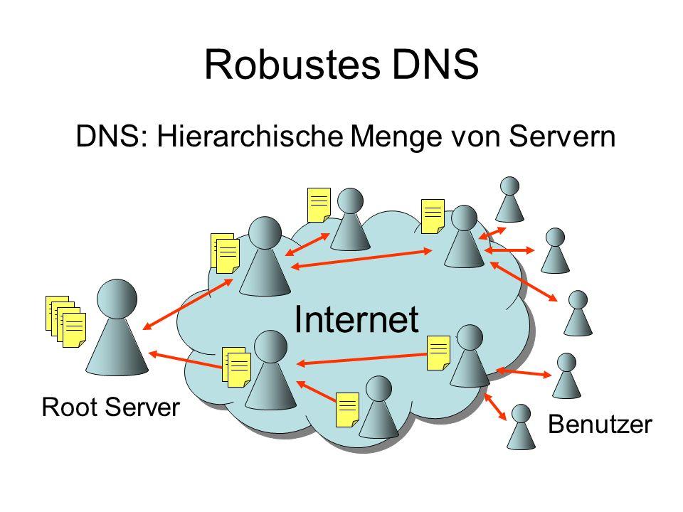 Robustes DNS Root Server Benutzer DNS: Hierarchische Menge von Servern Internet