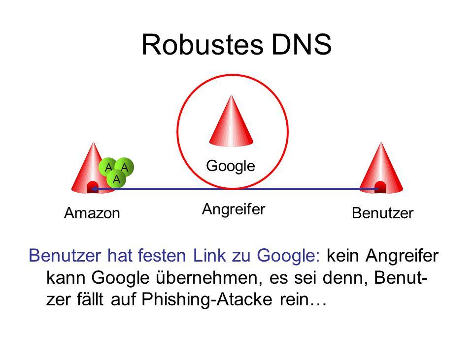 Robustes DNS Benutzer hat festen Link zu Google: kein Angreifer kann Google übernehmen, es sei denn, Benut- zer fällt auf Phishing-Atacke rein… Amazon