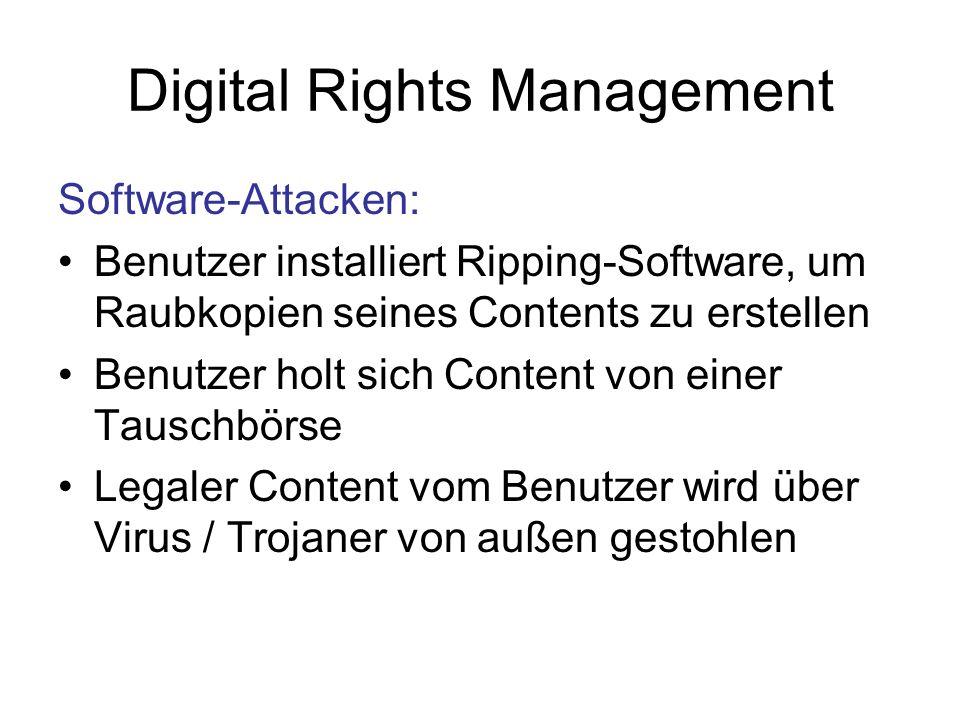 Digital Rights Management Software-Attacken: Benutzer installiert Ripping-Software, um Raubkopien seines Contents zu erstellen Benutzer holt sich Content von einer Tauschbörse Legaler Content vom Benutzer wird über Virus / Trojaner von außen gestohlen