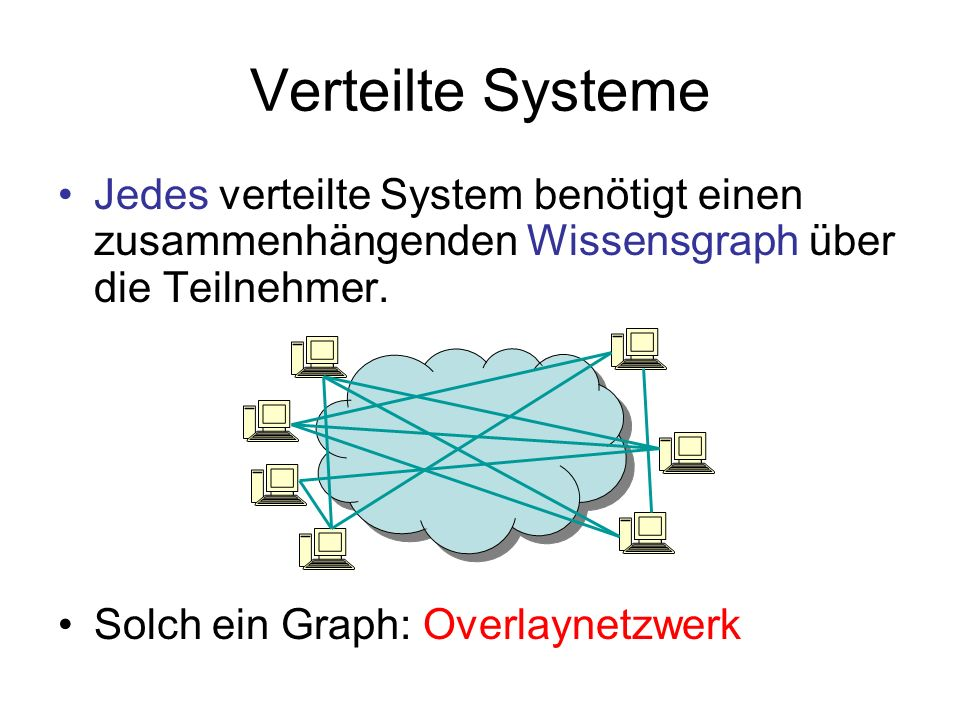 Verteilte Systeme Jedes verteilte System benötigt einen zusammenhängenden Wissensgraph über die Teilnehmer. Solch ein Graph: Overlaynetzwerk