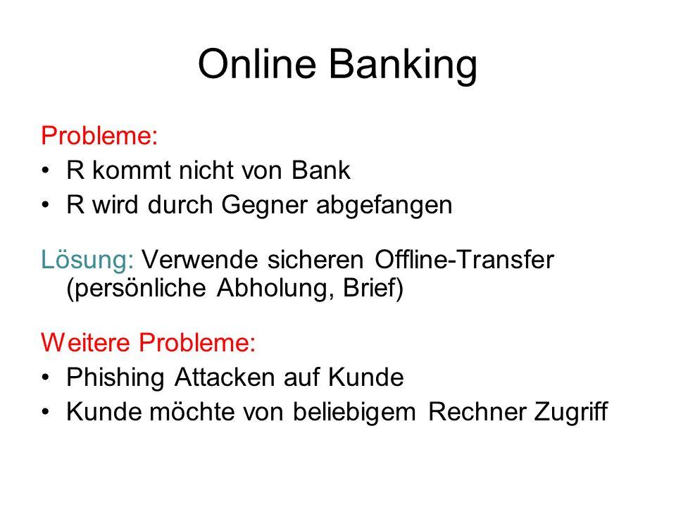 Online Banking Probleme: R kommt nicht von Bank R wird durch Gegner abgefangen Lösung: Verwende sicheren Offline-Transfer (persönliche Abholung, Brief