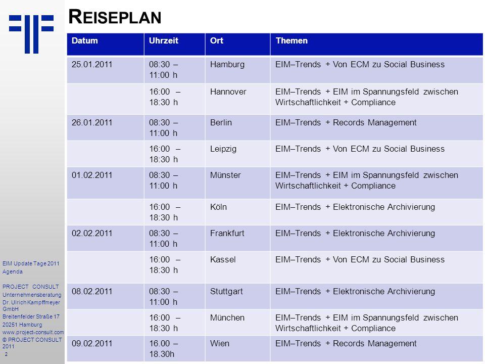 2 R EISEPLAN DatumUhrzeitOrtThemen 25.01.201108:30 – 11:00 h HamburgEIM–Trends + Von ECM zu Social Business 16:00 – 18:30 h HannoverEIM–Trends + EIM im Spannungsfeld zwischen Wirtschaftlichkeit + Compliance 26.01.201108:30 – 11:00 h BerlinEIM–Trends + Records Management 16:00 – 18:30 h LeipzigEIM–Trends + Von ECM zu Social Business 01.02.201108:30 – 11:00 h MünsterEIM–Trends + EIM im Spannungsfeld zwischen Wirtschaftlichkeit + Compliance 16:00 – 18:30 h KölnEIM–Trends + Elektronische Archivierung 02.02.201108:30 – 11:00 h FrankfurtEIM–Trends + Elektronische Archivierung 16:00 – 18:30 h KasselEIM–Trends + Von ECM zu Social Business 08.02.201108:30 – 11:00 h StuttgartEIM–Trends + Elektronische Archivierung 16:00 – 18:30 h MünchenEIM–Trends + EIM im Spannungsfeld zwischen Wirtschaftlichkeit + Compliance 09.02.201116.00 – 18.30h WienEIM–Trends + Records Management EIM Update Tage 2011 Agenda PROJECT CONSULT Unternehmensberatung Dr.
