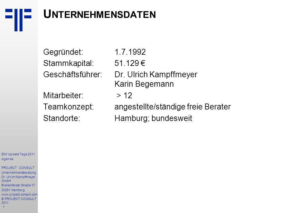 7 U NTERNEHMENSDATEN Gegründet:1.7.1992 Stammkapital:51.129 Geschäftsführer:Dr.