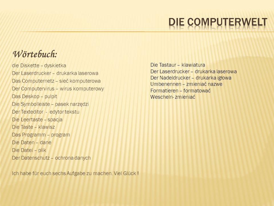 Wörtebuch: die Diskette – dyskietka Der Laserdrucker – drukarka laserowa Das Computernetz – sieć komputerowa Der Computervirus – wirus komputerowy Das