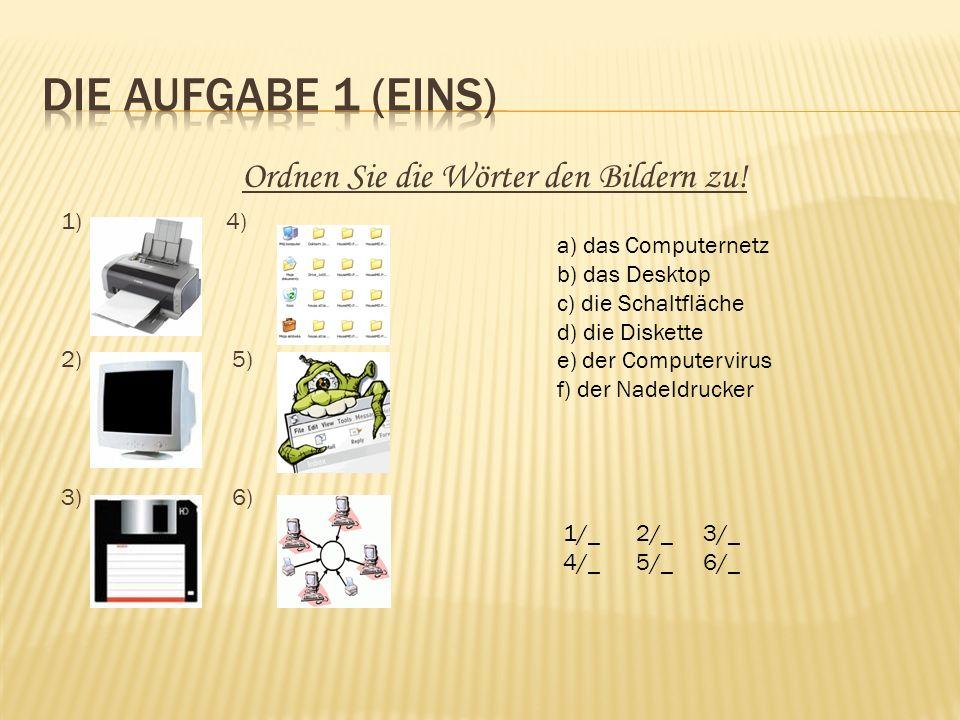 Kreuzworträtsel: 1.Komputer przenośny 2.Plik 3.Dane 4.Menu 5.Drukarka 6.Myszka 7.Otwierać