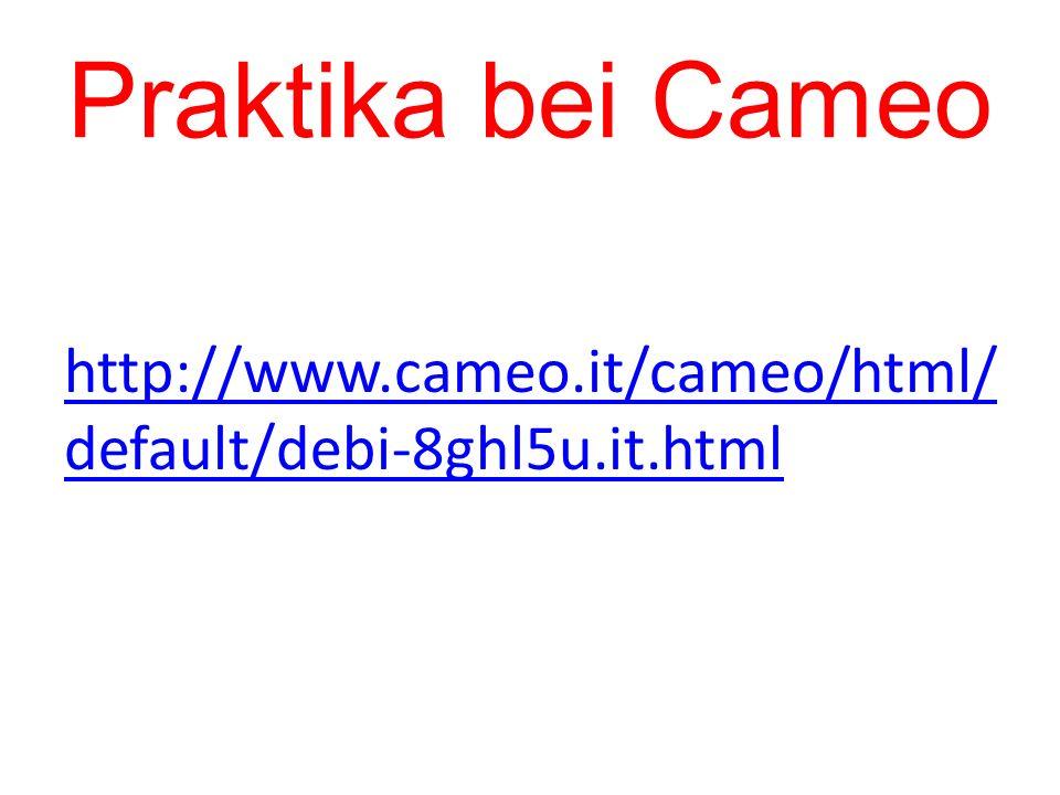 Praktika bei Cameo http://www.cameo.it/cameo/html/ default/debi-8ghl5u.it.html