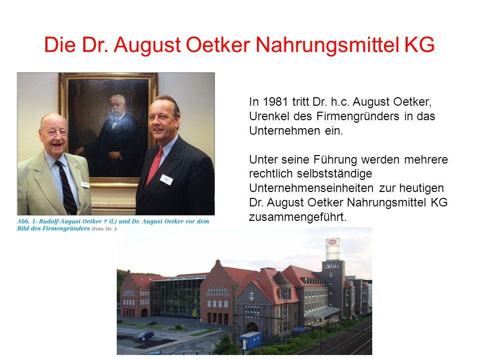 Die Dr. August Oetker Nahrungsmittel KG In 1981 tritt Dr. h.c. August Oetker, Urenkel des Firmengründers in das Unternehmen ein. Unter seine Führung w