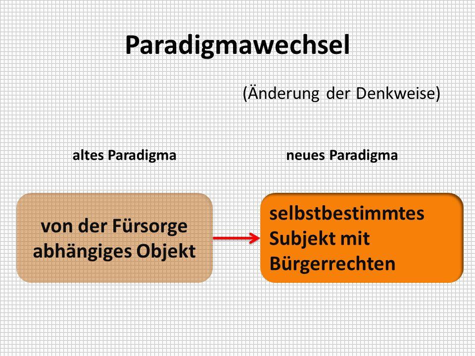 Paradigmawechsel altes Paradigmaneues Paradigma von der Fürsorge abhängiges Objekt selbstbestimmtes Subjekt mit Bürgerrechten (Änderung der Denkweise)