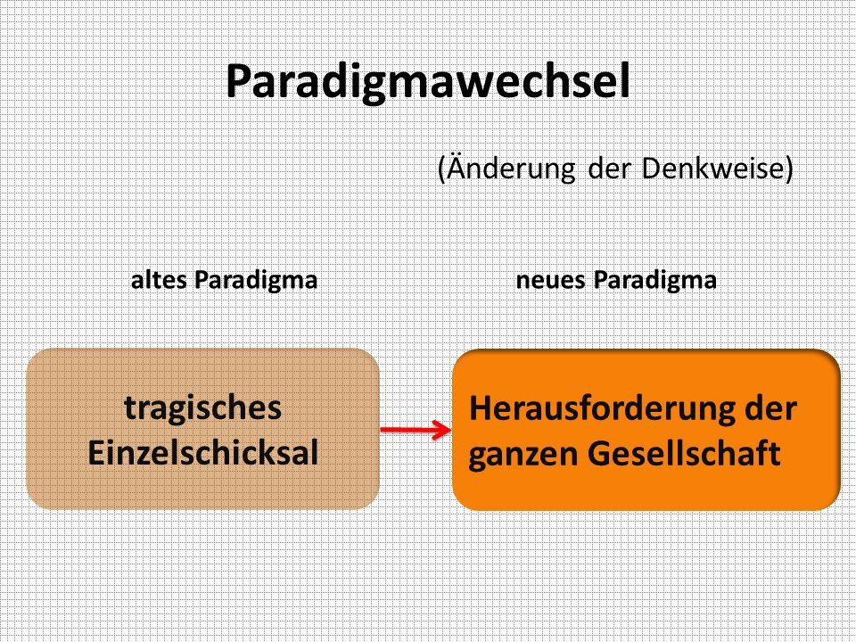 Paradigmawechsel altes Paradigmaneues Paradigma tragisches Einzelschicksal Herausforderung der ganzen Gesellschaft (Änderung der Denkweise)