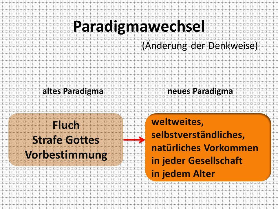 Paradigmawechsel altes Paradigmaneues Paradigma Fluch Strafe Gottes Vorbestimmung weltweites, selbstverständliches, natürliches Vorkommen in jeder Ges