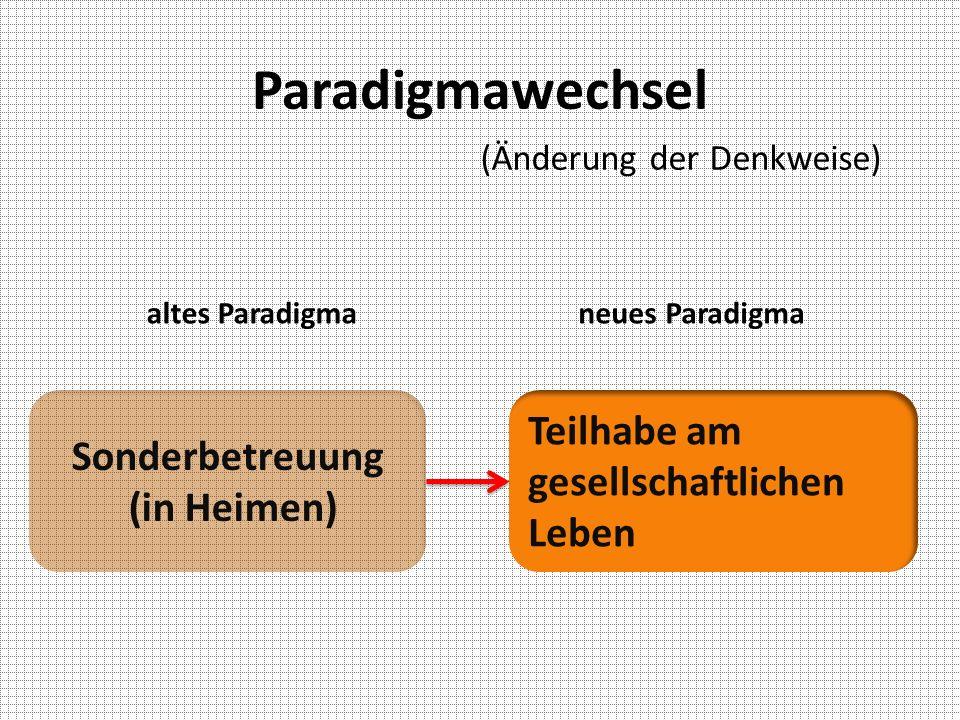 Paradigmawechsel altes Paradigmaneues Paradigma Sonderbetreuung (in Heimen) Teilhabe am gesellschaftlichen Leben (Änderung der Denkweise)