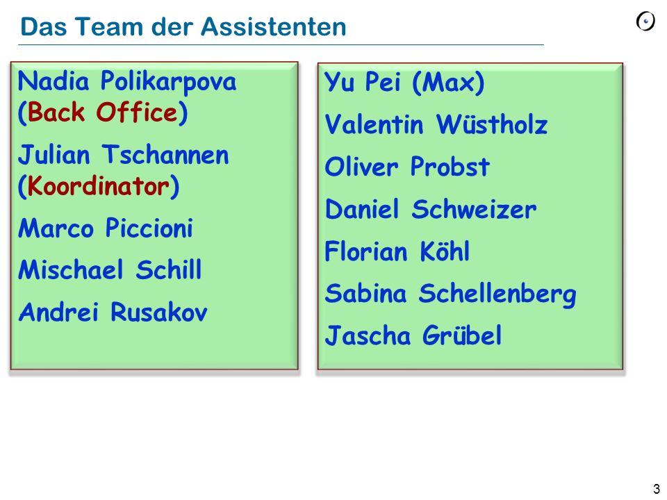 3 Das Team der Assistenten Nadia Polikarpova (Back Office) Julian Tschannen (Koordinator) Marco Piccioni Mischael Schill Andrei Rusakov Yu Pei (Max) V