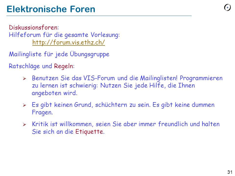 31 Elektronische Foren Diskussionsforen: Hilfeforum für die gesamte Vorlesung: http://forum.vis.ethz.ch/ http://forum.vis.ethz.ch/ Mailingliste für je