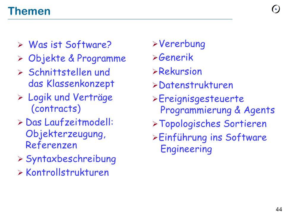 44 Themen Was ist Software? Objekte & Programme Schnittstellen und das Klassenkonzept Logik und Verträge (contracts) Das Laufzeitmodell: Objekterzeugu