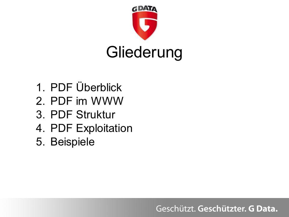 Gliederung 1.PDF Überblick 2.PDF im WWW 3.PDF Struktur 4.PDF Exploitation 5.Beispiele