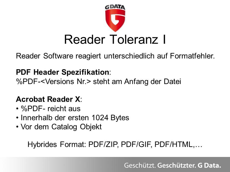 Reader Toleranz I Überblick Reader Software reagiert unterschiedlich auf Formatfehler. PDF Header Spezifikation: %PDF- steht am Anfang der Datei Acrob