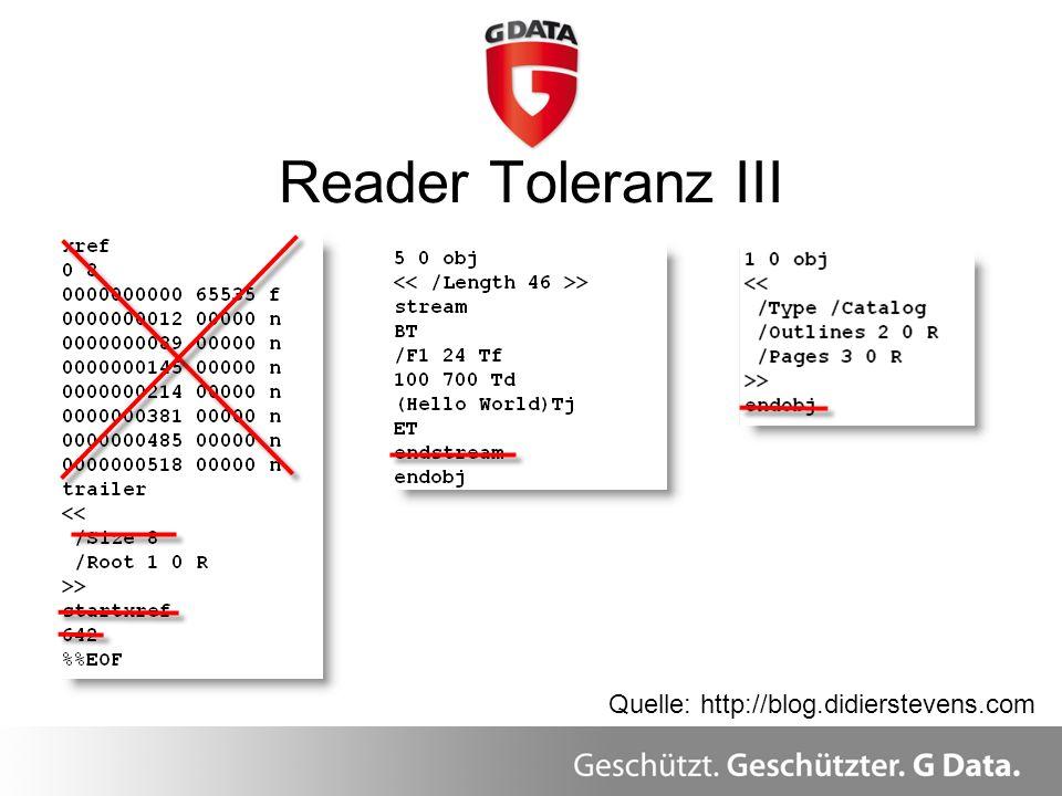 Reader Toleranz III Überblick Quelle: http://blog.didierstevens.com