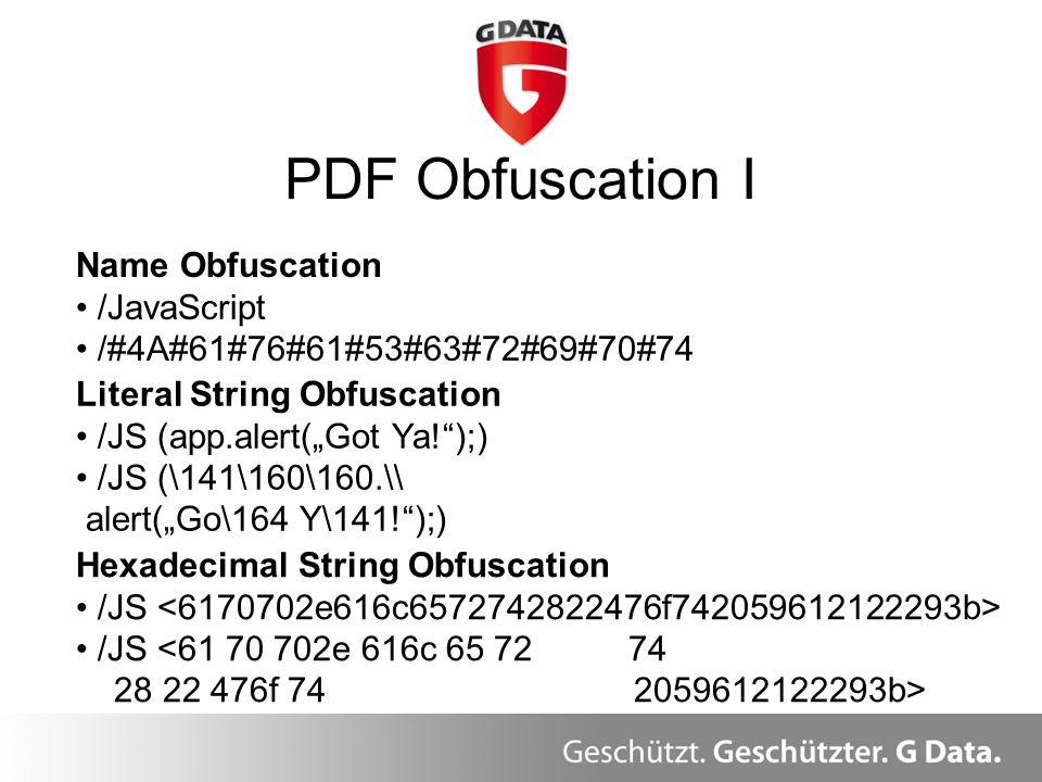 PDF Obfuscation I Überblick Name Obfuscation /JavaScript /#4A#61#76#61#53#63#72#69#70#74 Literal String Obfuscation /JS (app.alert(Got Ya!);) /JS (\14