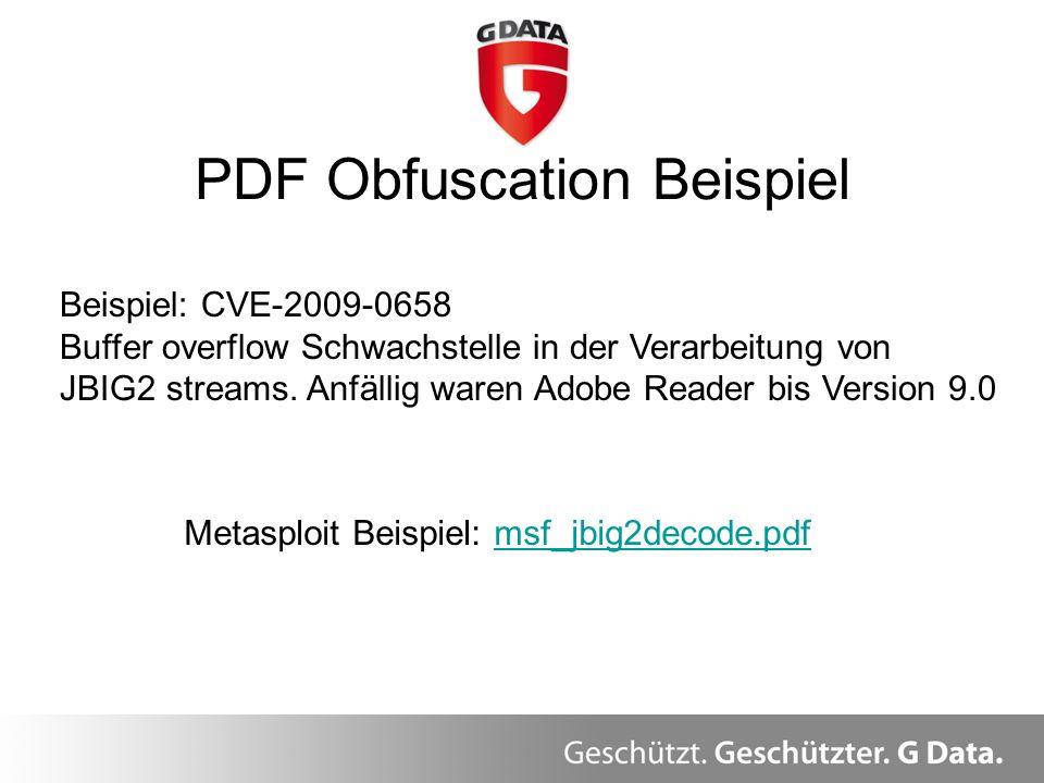 PDF Obfuscation Beispiel Überblick Beispiel: CVE-2009-0658 Buffer overflow Schwachstelle in der Verarbeitung von JBIG2 streams. Anfällig waren Adobe R