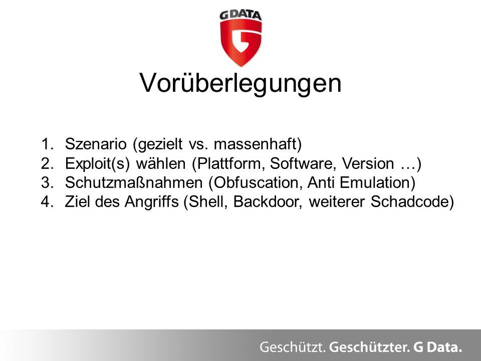 Vorüberlegungen Überblick 1.Szenario (gezielt vs. massenhaft) 2.Exploit(s) wählen (Plattform, Software, Version …) 3.Schutzmaßnahmen (Obfuscation, Ant