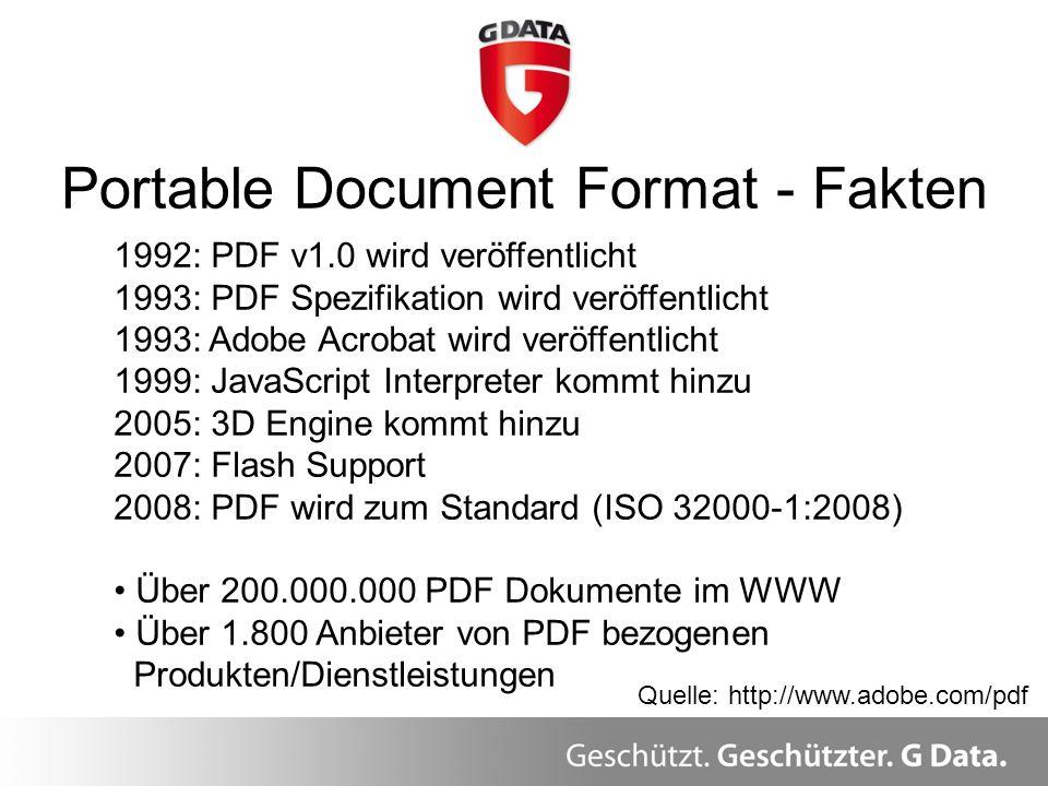 Portable Document Format - Fakten 1992: PDF v1.0 wird veröffentlicht 1993: PDF Spezifikation wird veröffentlicht 1993: Adobe Acrobat wird veröffentlic