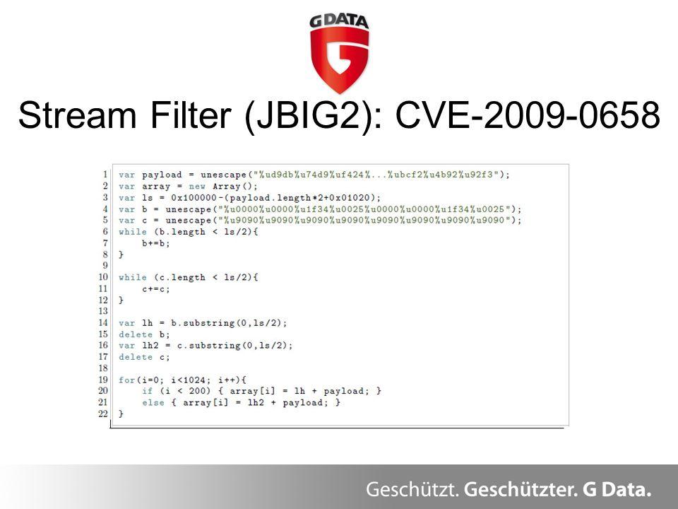 Stream Filter (JBIG2): CVE-2009-0658