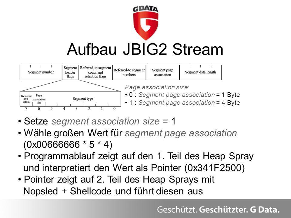 Aufbau JBIG2 Stream Page association size: 0 : Segment page association = 1 Byte 1 : Segment page association = 4 Byte Setze segment association size