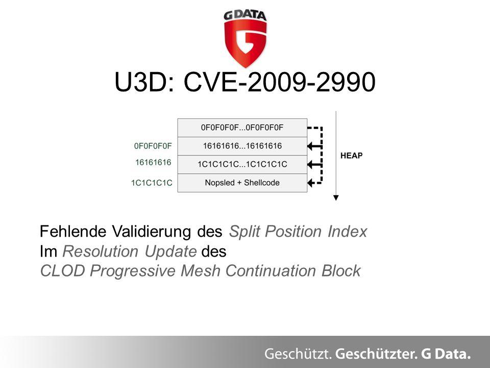 U3D: CVE-2009-2990 Fehlende Validierung des Split Position Index Im Resolution Update des CLOD Progressive Mesh Continuation Block