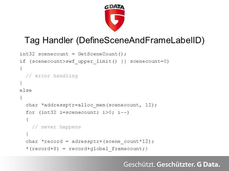 int32 scenecount = GetSceneCount(); if (scenecount>swf_upper_limit() || scenecount=0) { // error handling } else { char *addressptr=alloc_mem(scenecou