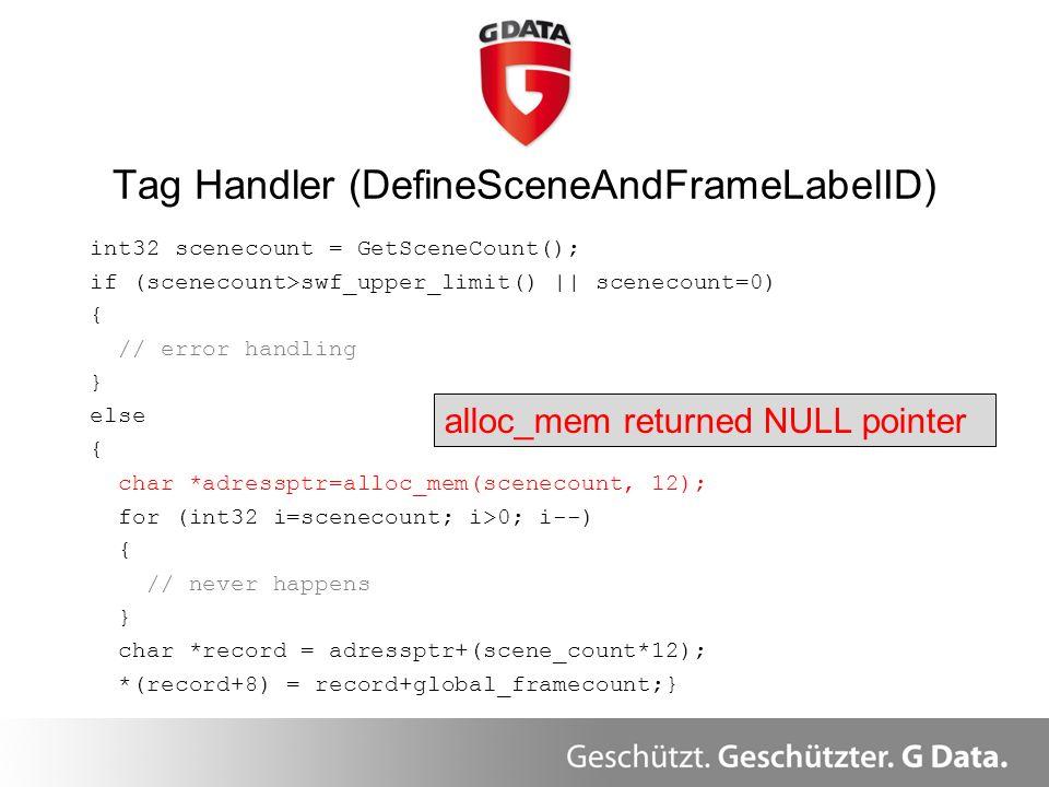 int32 scenecount = GetSceneCount(); if (scenecount>swf_upper_limit() || scenecount=0) { // error handling } else { char *adressptr=alloc_mem(scenecoun