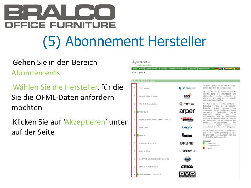 (5) Abonnement Hersteller Gehen Sie in den Bereich Abonnements Wählen Sie die Hersteller, für die Sie die OFML-Daten anfordern möchten Klicken Sie auf