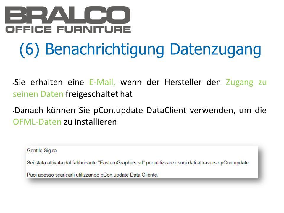 (6) Benachrichtigung Datenzugang Sie erhalten eine E-Mail, wenn der Hersteller den Zugang zu seinen Daten freigeschaltet hat Danach können Sie pCon.up