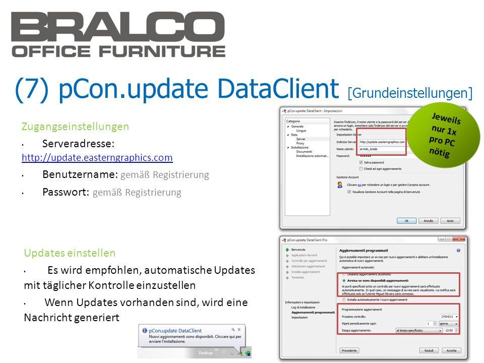 (7) pCon.update DataClient [Grundeinstellungen] Updates einstellen Es wird empfohlen, automatische Updates mit täglicher Kontrolle einzustellen Wenn U