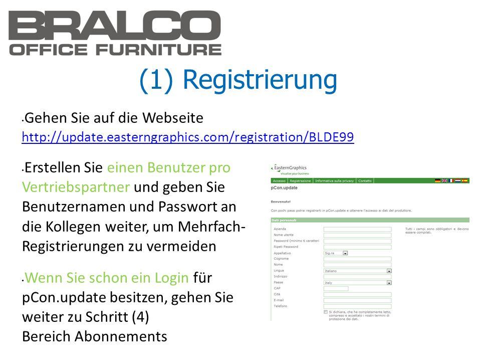 (1) Registrierung Gehen Sie auf die Webseite http://update.easterngraphics.com/registration/BLDE99 http://update.easterngraphics.com/registration/BLDE