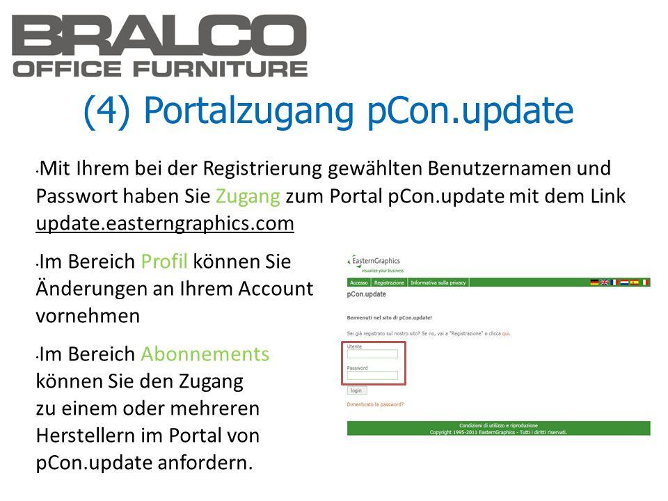 (4) Portalzugang pCon.update Mit Ihrem bei der Registrierung gewählten Benutzernamen und Passwort haben Sie Zugang zum Portal pCon.update mit dem Link