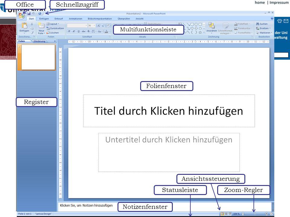 Symbolleisten Folienfenster Notizenfenster Statusleiste Ansichtssteuerung Register
