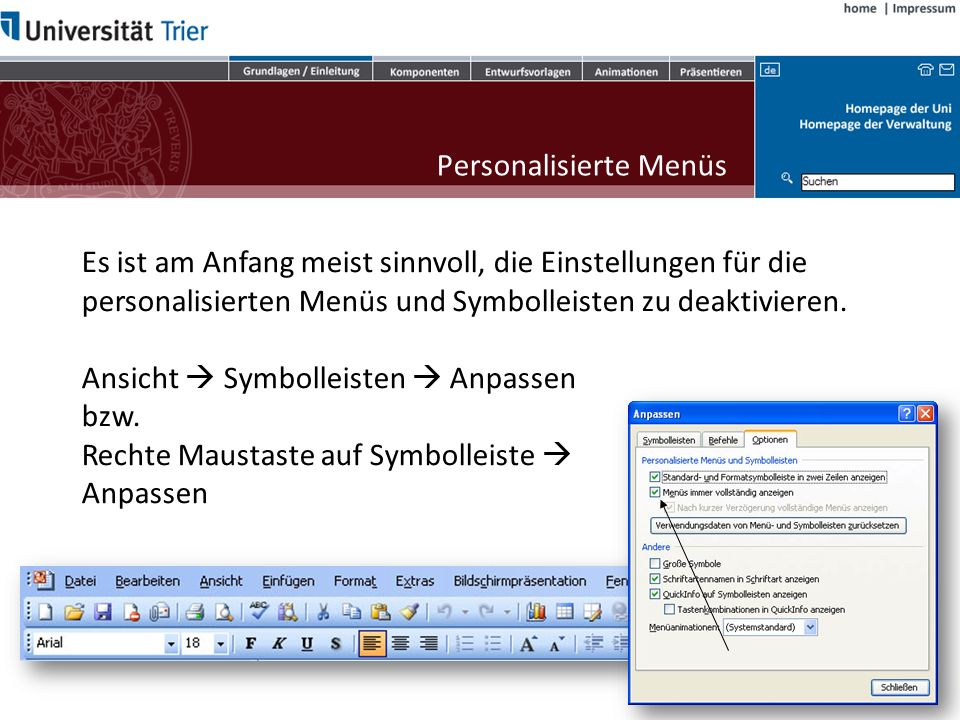 Office Notizenfenster Folienfenster Statusleiste Ansichtssteuerung Zoom-Regler Multifunktionsleiste Schnellzugriff