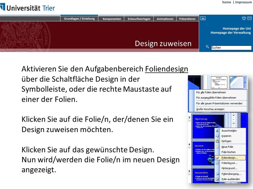 Designvorlagen Neben verschiedenen Layouts verfügt PowerPoint über eine Vielzahl vordefinierter Designvorlagen.