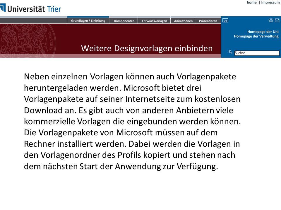 Weitere Designvorlagen einbinden Die entpackte Datei kann nun auf unterschiedliche Arten in PowerPoint eingesetzt werden: Doppelklick auf die pot-Datei: Dadurch wird PowerPoint geöffnet und eine neue Präsentation mit dem Design erzeugt.