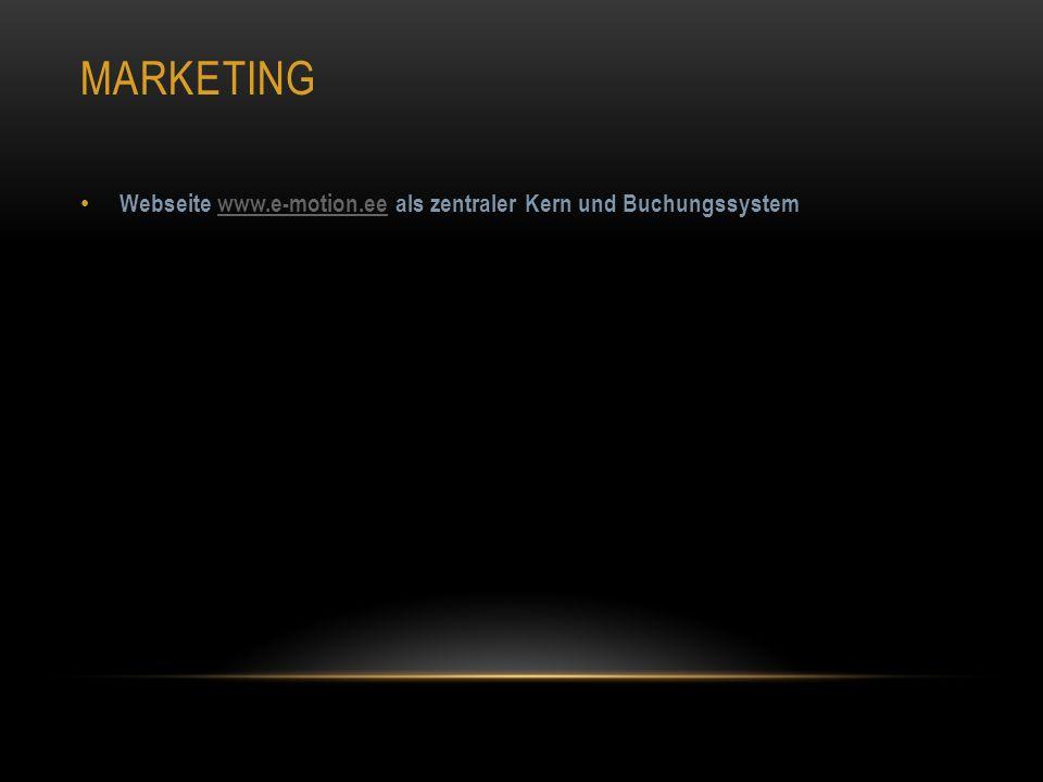 MARKETING Webseite www.e-motion.ee als zentraler Kern und Buchungssystemwww.e-motion.ee