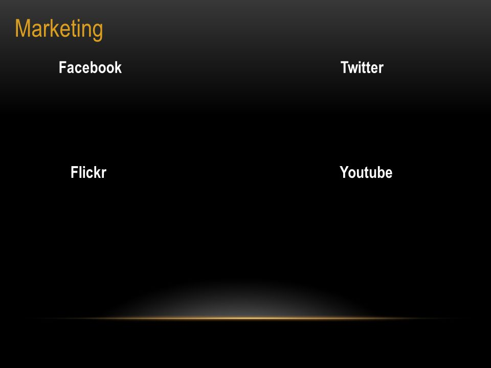 Marketing FacebookTwitter FlickrYoutube