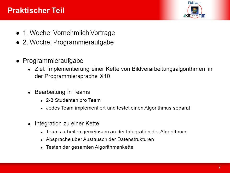 Praktischer Teil 1. Woche: Vornehmlich Vorträge 2.