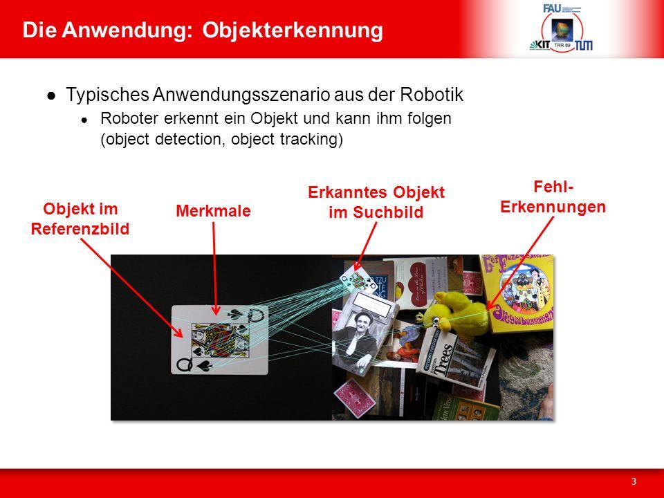 Die Anwendung: Objekterkennung Typisches Anwendungsszenario aus der Robotik Roboter erkennt ein Objekt und kann ihm folgen (object detection, object tracking) 3 Objekt im Referenzbild Merkmale Erkanntes Objekt im Suchbild Fehl- Erkennungen