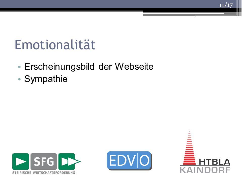 /17 Emotionalität Erscheinungsbild der Webseite Sympathie 11