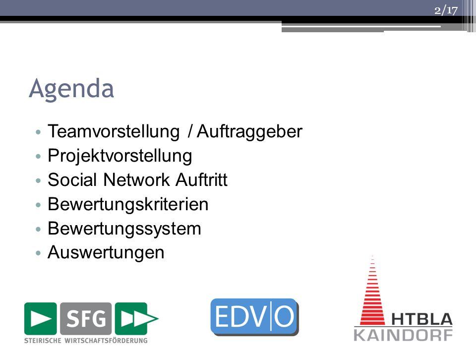 /17 Agenda Teamvorstellung / Auftraggeber Projektvorstellung Social Network Auftritt Bewertungskriterien Bewertungssystem Auswertungen 2
