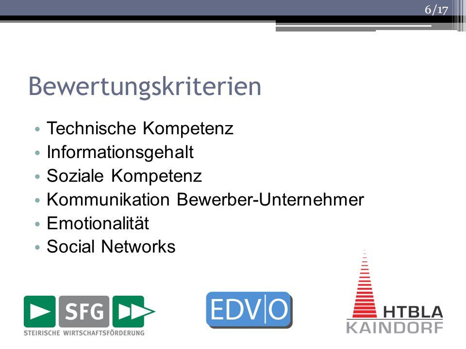 /17 Bewertungskriterien Technische Kompetenz Informationsgehalt Soziale Kompetenz Kommunikation Bewerber-Unternehmer Emotionalität Social Networks 6