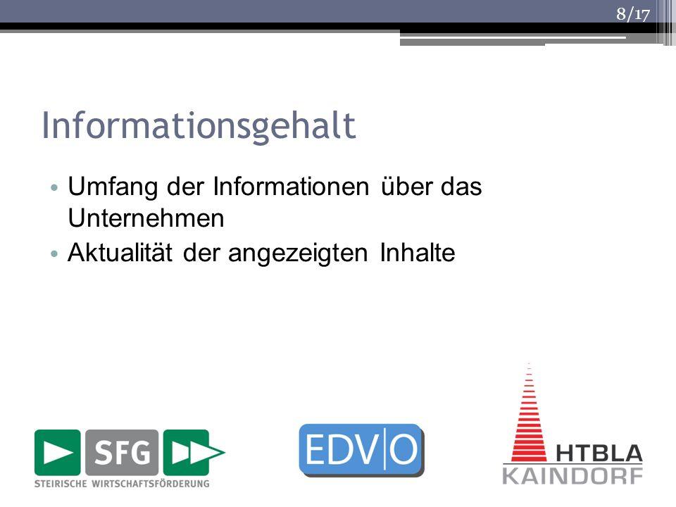 /17 Informationsgehalt Umfang der Informationen über das Unternehmen Aktualität der angezeigten Inhalte 8