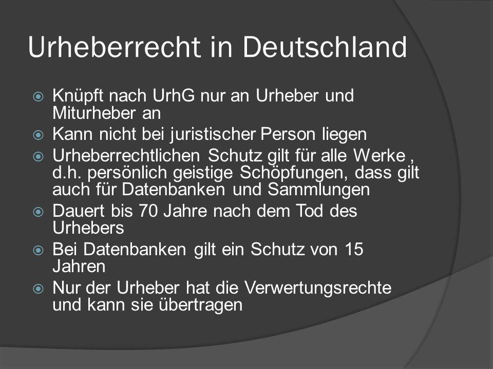 Urheberrecht in Deutschland Knüpft nach UrhG nur an Urheber und Miturheber an Kann nicht bei juristischer Person liegen Urheberrechtlichen Schutz gilt