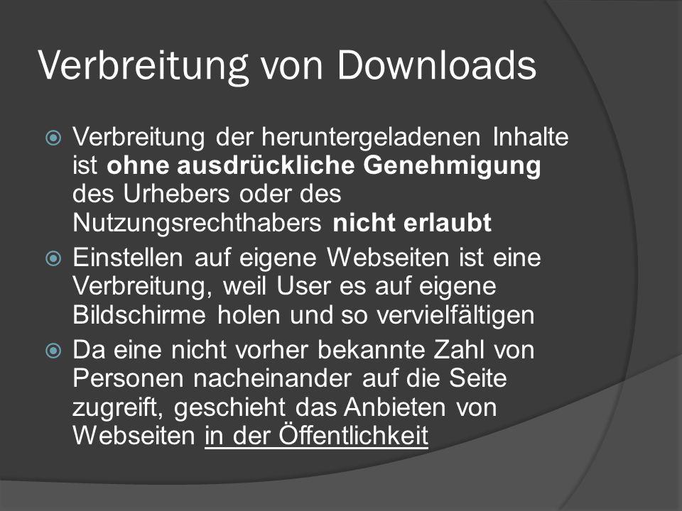 Verbreitung von Downloads Verbreitung der heruntergeladenen Inhalte ist ohne ausdrückliche Genehmigung des Urhebers oder des Nutzungsrechthabers nicht