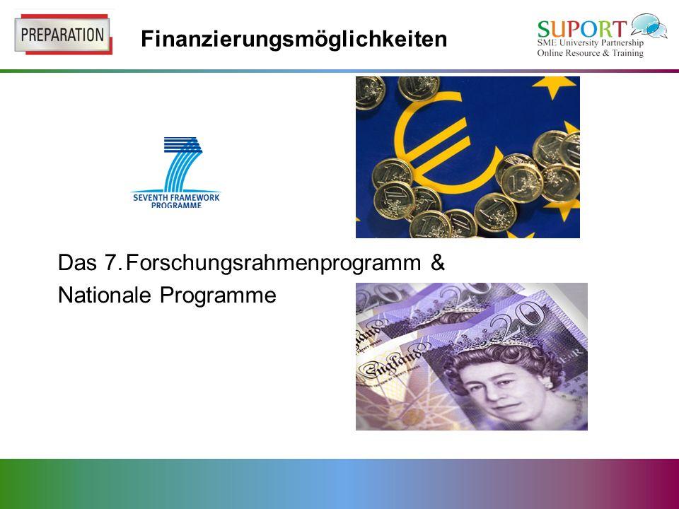Finanzierungsmöglichkeiten Das 7.Forschungsrahmenprogramm & Nationale Programme